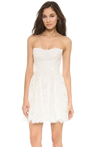 Short Strapless A-line Lace Dress With Low-V Back Style