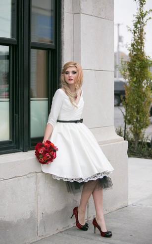 Courthouse bridal dress casual wedding gowns dorris wedding 3 4 sleeve a line v neck tea length taffeta dress with lace junglespirit Choice Image