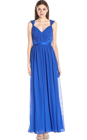 Sleeveless V Neck Long Chiffon Dress With Pleats