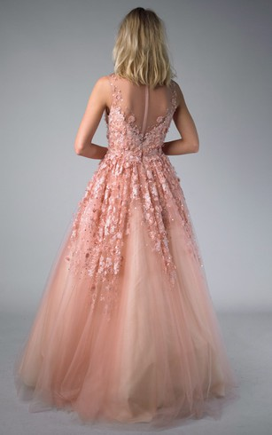 A-line Floor-length V-neck Sleeveless Tulle Illusion Dress