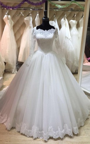 Long Sleeve Lace and Tulle Ball Gown With Illusion Back