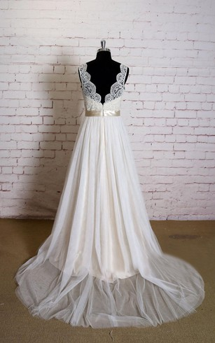 Sleeveless Queen Anne Neck A-Line Tulle Dress With Satin Sash