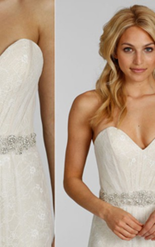 Magnificent Sweetheart Neckline Lace Dress With Beaded Embellished Waist