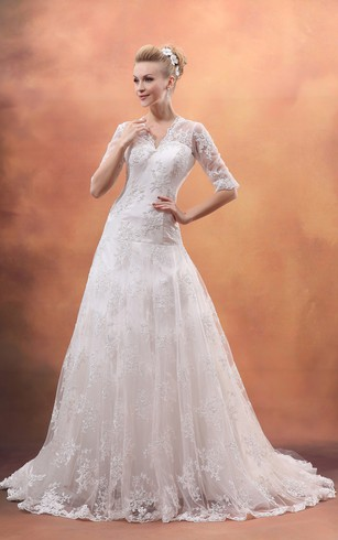 Good Half Sleeve V Neck Dress With Lace Appliques And Tulle Overlay ...