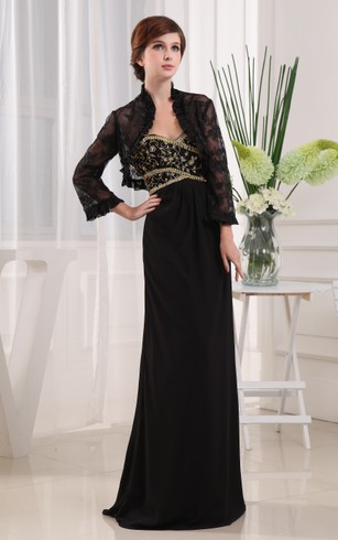 Elegant Long Sheath Dress With Appliques and Beading