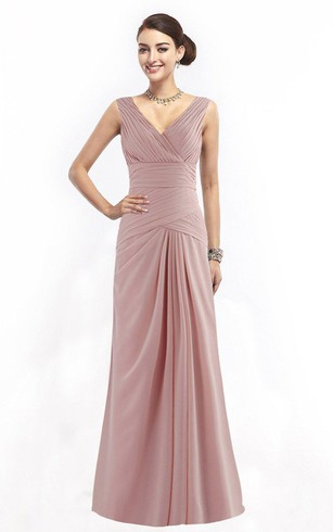 Sleeveless V-neck Chiffon Gown With Ruching