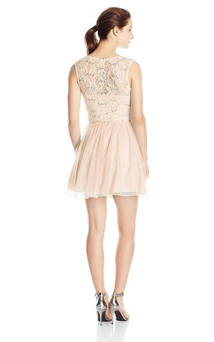 Sleeveless Short Dress with Sequins and Lace Bodice
