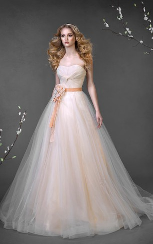 A-Line Floor-Length Sweetheart Sleeveless Corset-Back Tulle Dress With Flower And Ruching