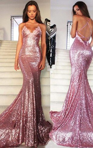 Glamorous Sequins V-Neck Prom Dresses 2016 Mermaid Spaghetti Straps Party Gowns