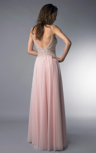 A-line Floor-length Spaghetti-strap Sleeveless Tulle Low-V Back Dress