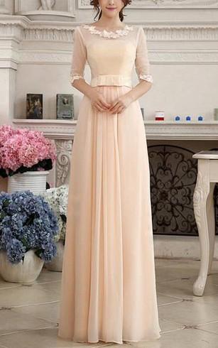 Pretty Lace Liques Half Sleeves Zipper Up Floor Length Prom Dress