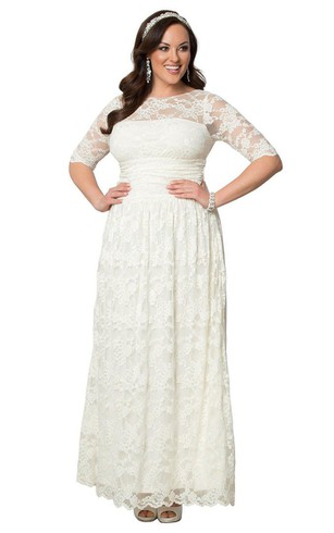 Plus Lace Long Bateau Size Dress With Sleeves