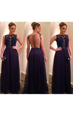 Elegant Beadings Lace Appliques Evening Dress 2016 A-line Floor-length
