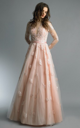 A-line Floor-length High Neck Long Sleeve Tulle Zipper Dress