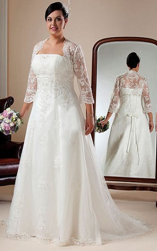 Long Sleeves Wedding Dress For Plus Ladies | Full Figure Size ...