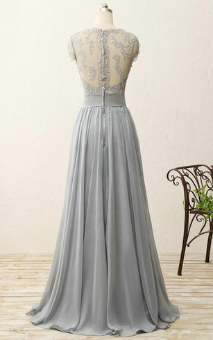 A-line Sweep Train Chiffon Dress with Lace and Pleats