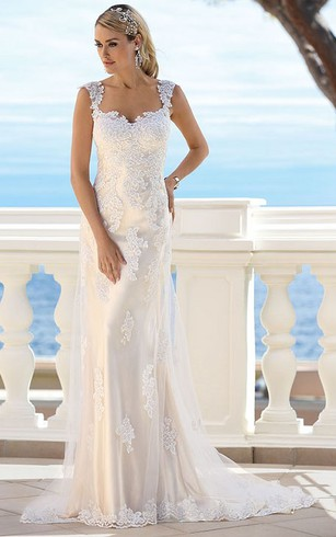 Wedding dress for elder brides 2nd married older second times square maxi appliqued lace wedding dress with court train and v back junglespirit Gallery