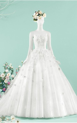 A-Line Ball Gown Tea-Length Sweetheart Beading Jacket Chiffon Tulle Lace Sequins Organza Satin Dress