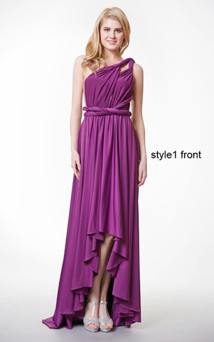 Ruched One Shoulder Pleated High Low Jersey Dress With Ruffles