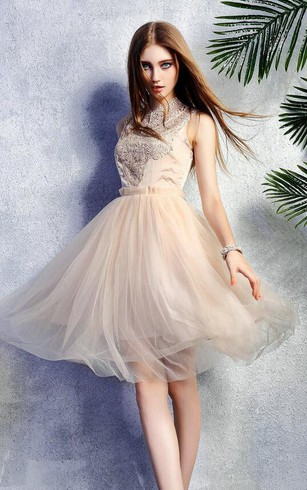 Sleeveless High Neck Lace New Arrival Stunning Dress