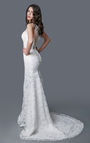 Impressive Lace Mermaid Dress With Thin Straps