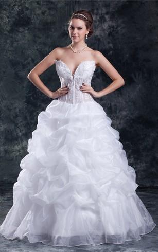 0ea16b382917 Romantic V Neck Ball Gown Satin Organza Sleeveless Wedding Dresses ...