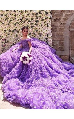 Glamorous Purple Off The Shoulder Wedding Dress 2016 Long Train Flowers