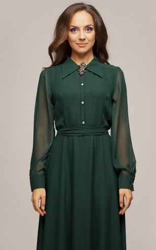 High Neck Illusion Long Sleeve A-line Pleated Chiffon Long Dress Shirt Top