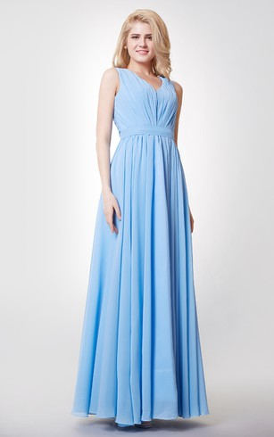 Empire V Neck A Line Pleated Chiffon Gown With Keyhole
