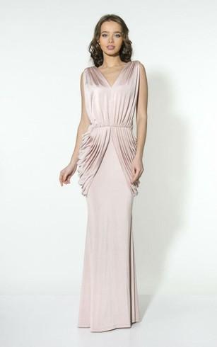 V Neck Sleeveless Sheath Charmeuse Floor Length Dress