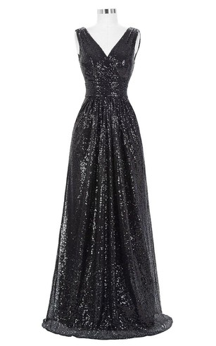 V-neck Long Dress with All Over Sequins and Ruching