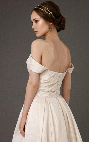 A-Line Taffeta Off-Shoulder Sweetheart Gown With Ruching and Beading