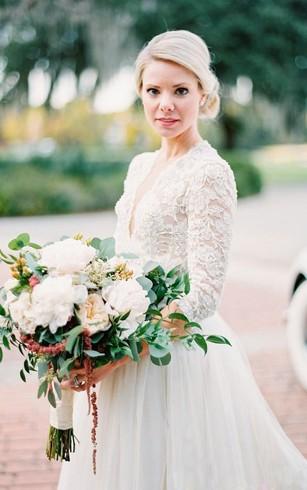 Cheap Low-V Bridal Dress | Wedding Dresses With Deep-V Neck - Dorris ...