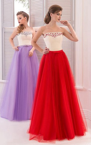 A-Line Floor-Length Sweetheart Sleeveless Tulle Drapping Pleats Zipper Dress