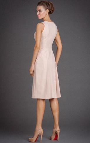 Jewel Neck Sleeveless A-line Satin Pleated Knee Length Dress