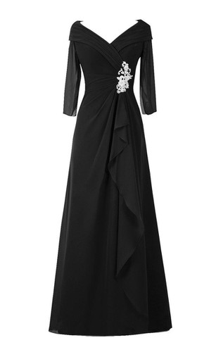3-4 Sleeved A-line Chiffon Gown With Ruffles