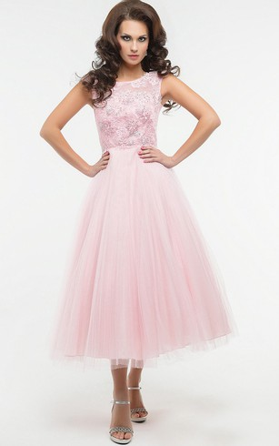 A-Line Tea-Length Jewel Short Sleeve Tulle Appliques Pleats Low-V Back Dress