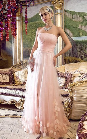 A-line Strapless Sleeveless Floor-Length Tulle Applique Dresses