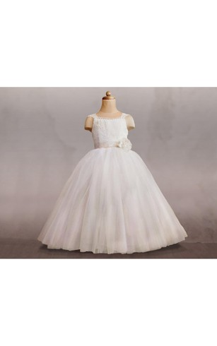 Cap Sleeve Tulle Ball Gown With Lace Up and Flower