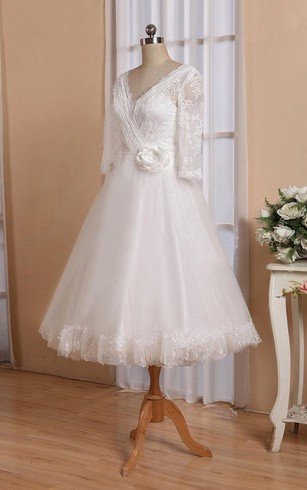 1d56a450f5 V-Neck Half Sleeve Button Back Tulle Wedding Dress With Sash And Flower ...