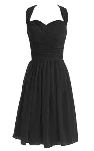 Halter Knee-length Chiffon Dress With Pleats