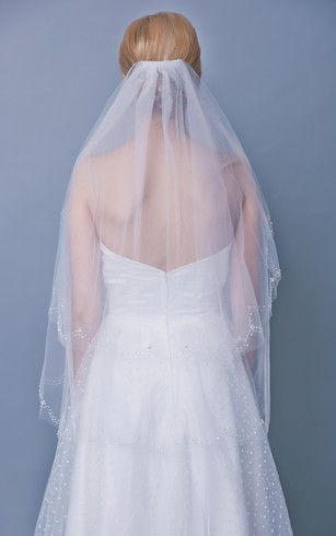 Beaded Trim Mid Length Two Tier Veil