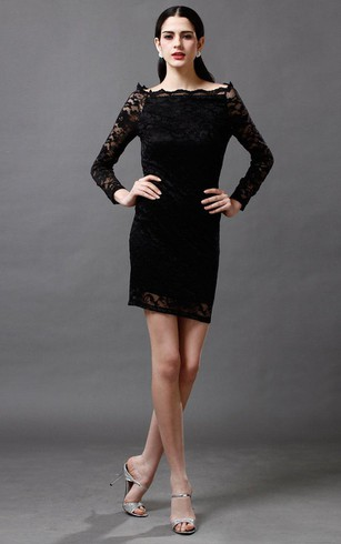 Classic Bateau-neck Lace Short Dress With Long Sleeves