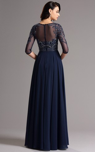 Empire Floor-Length Bateau 3 Empire Chiffon Beading Zipper Dress