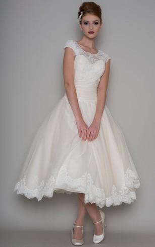Tea length bridal dresses mid length wedding gown dorris wedding tea length a line scoop neck appliqued cap sleeve tulle wedding dress junglespirit Image collections
