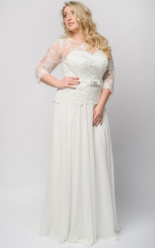 Empire Floor Length Bateau 3 Chiffon Lace Illusion Dress