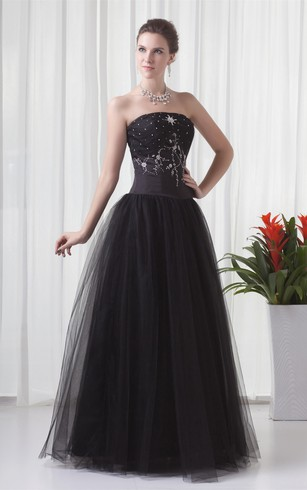 Glamorous Sleeveless Beaded Satin Strapless Special Occasion Dresses