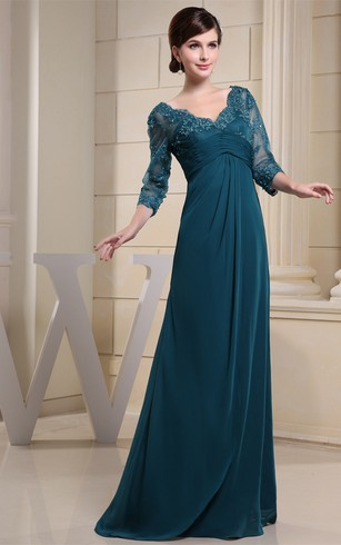 V-Neck Maxi Empire Illusion Sleeve and Dress With Appliques