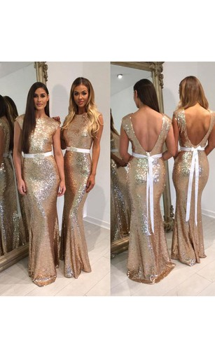 Rose metallic bridesmaid gown gold sequin bridesmaid dresses mermaid long scoop cap sequins dress with deep v back junglespirit Image collections