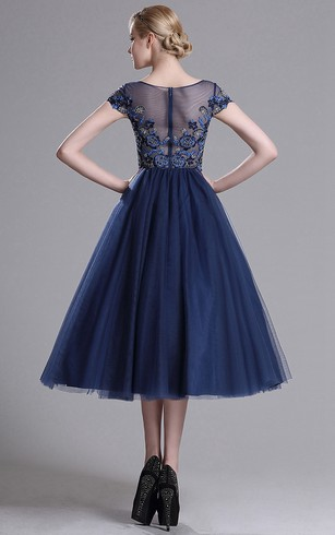 A-Line Tea-Length Bateau Short Sleeve Tulle Beading Appliques Illusion Dress